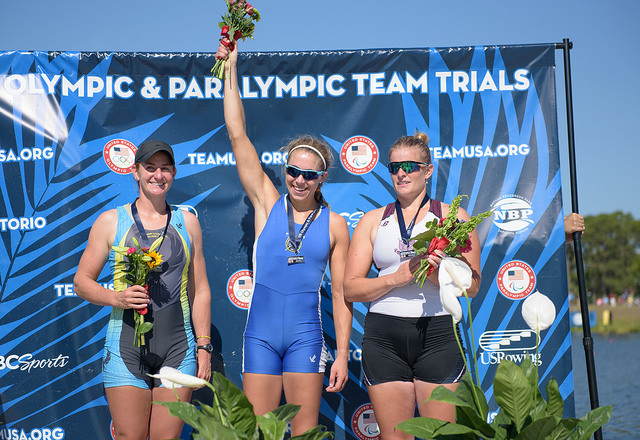 Gevvie celebrates her victory. Photo courtesy of Ed Moran / USRowing