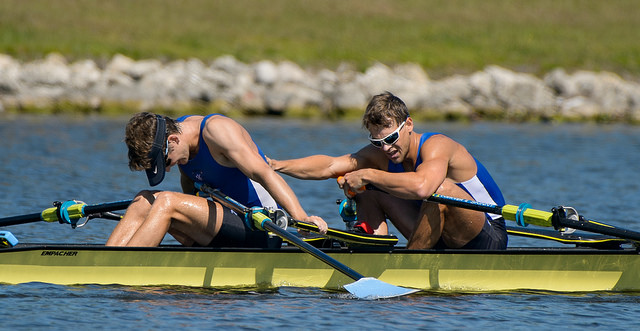 Josh and Andrew at the finish of their race. Photo courtesy of Ed Moran / USRowing
