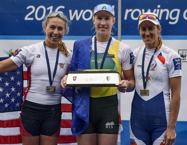 Gevvie on the Lucerne Podium. Photo courtesy of Ed Moran / USRowing
