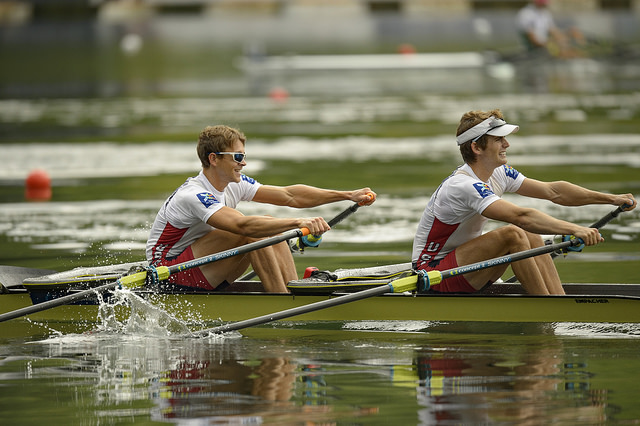 Josh and Andrew race at the second World Cup in Lucerne. Photo courtesy of Ed Moran / USRowing