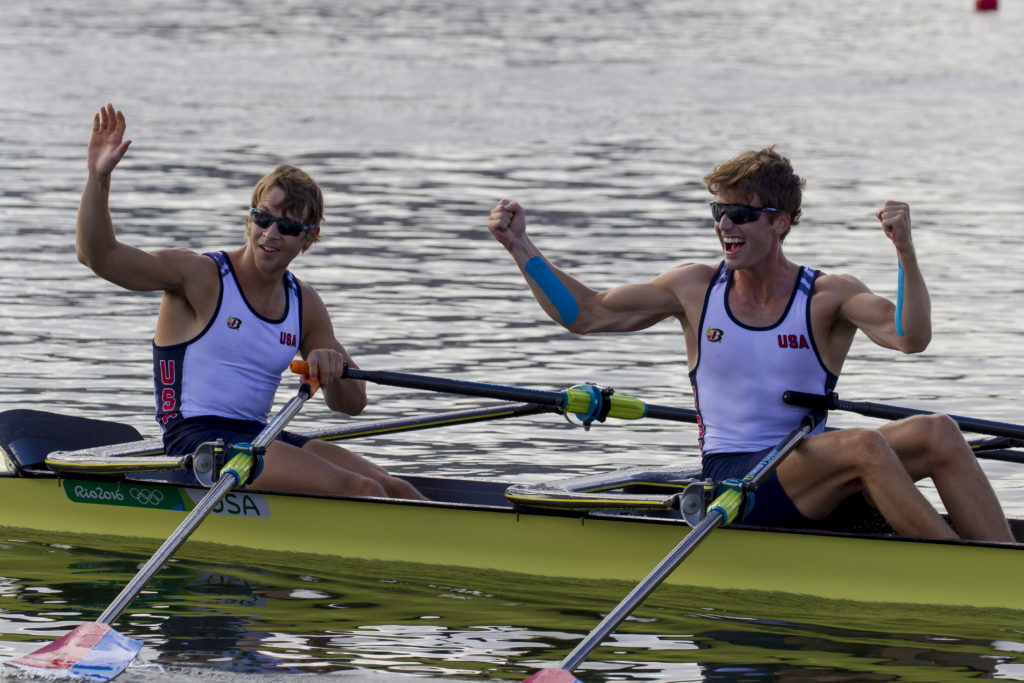 Andrew and Josh celebrate qualifying for the A final. Photo courtesy of Ed Hewitt/Row2k/USRowing