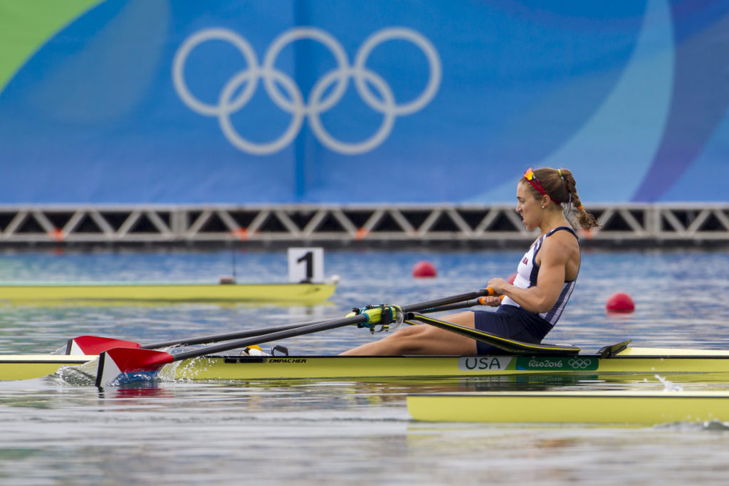 Gevvie races for a spot in the A Final. Photo courtesy of Ed Hewitt/Row2k/USRowing