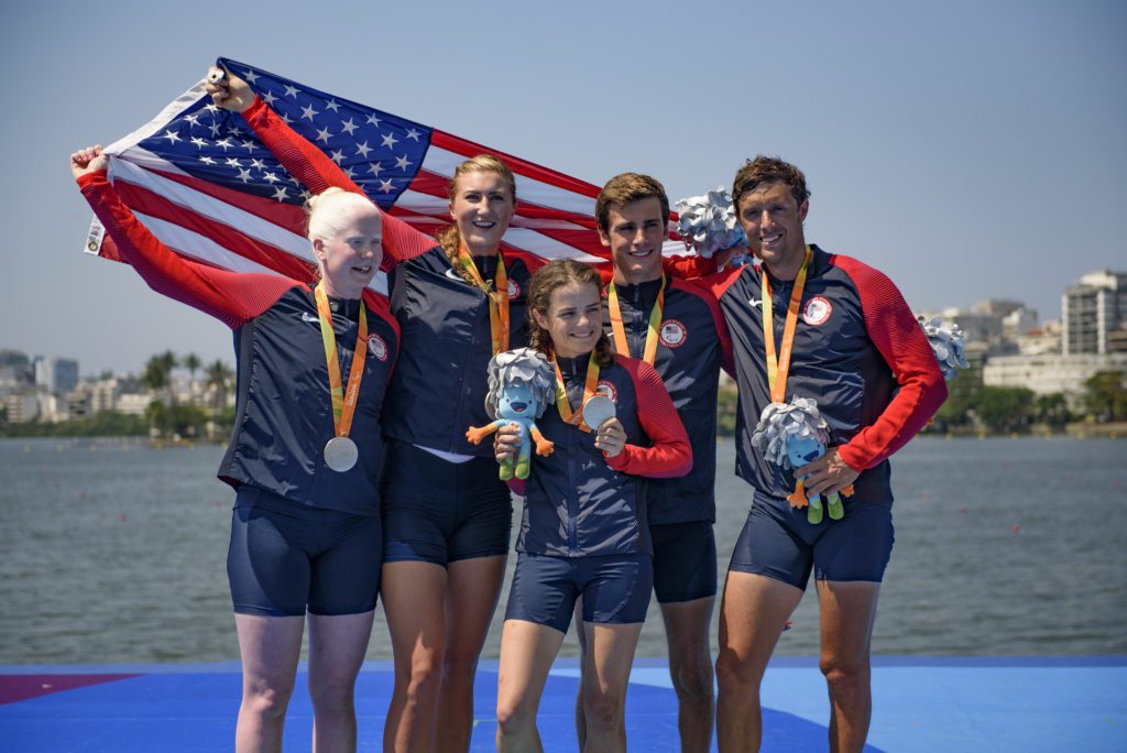 LTA4+ Silver medal (Jackie Smith, Dani Hansen, Jenny Sichel, Zach Burns, Dorian Weber) Photo courtesy of Ed Moran / USRowing